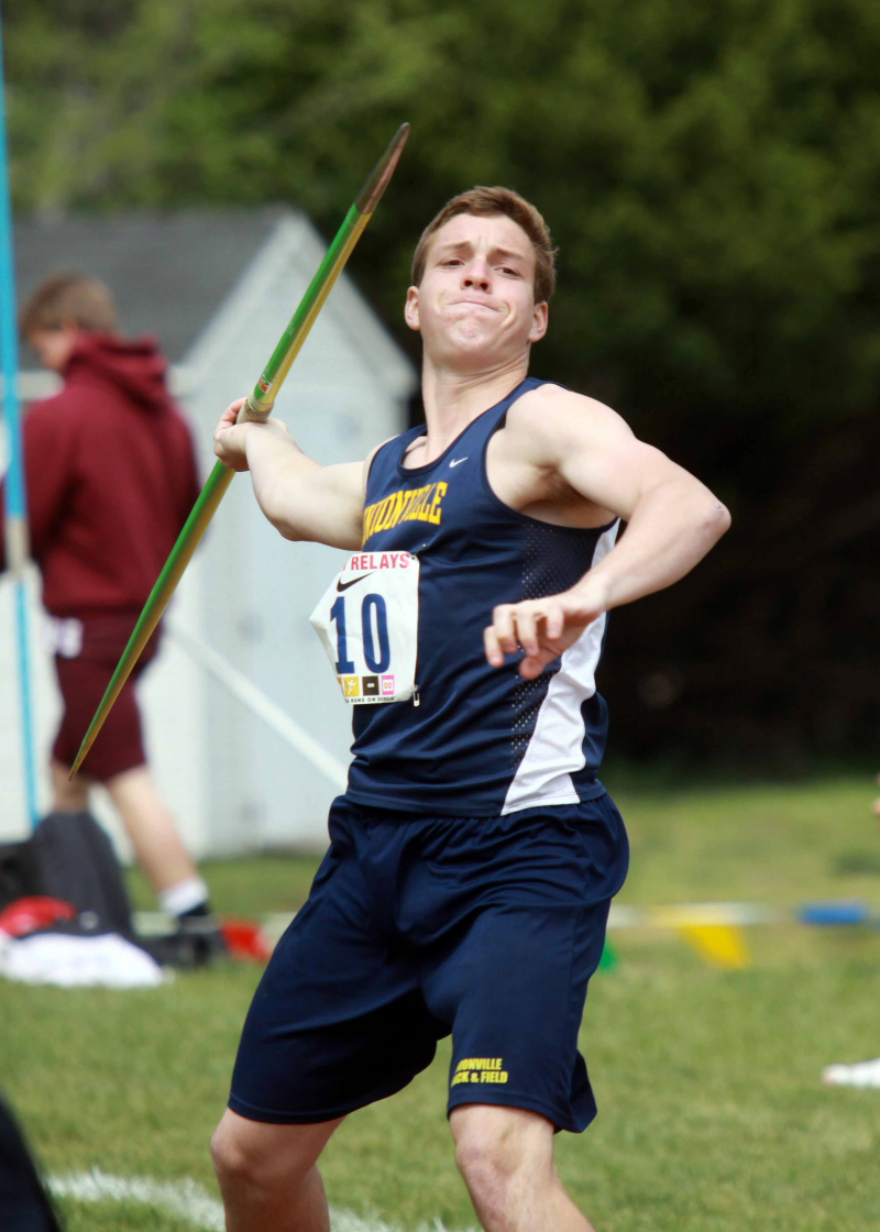 Unionville senior Perry Hopkins finished ninth over all in javelin at the Penn Relays