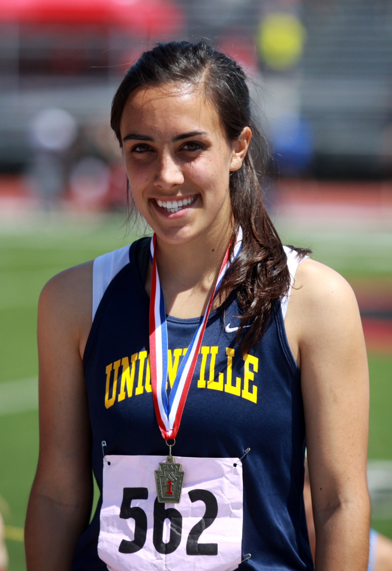 Unionville senior Christin Mapa will run the 300 hurdles in her first state meet