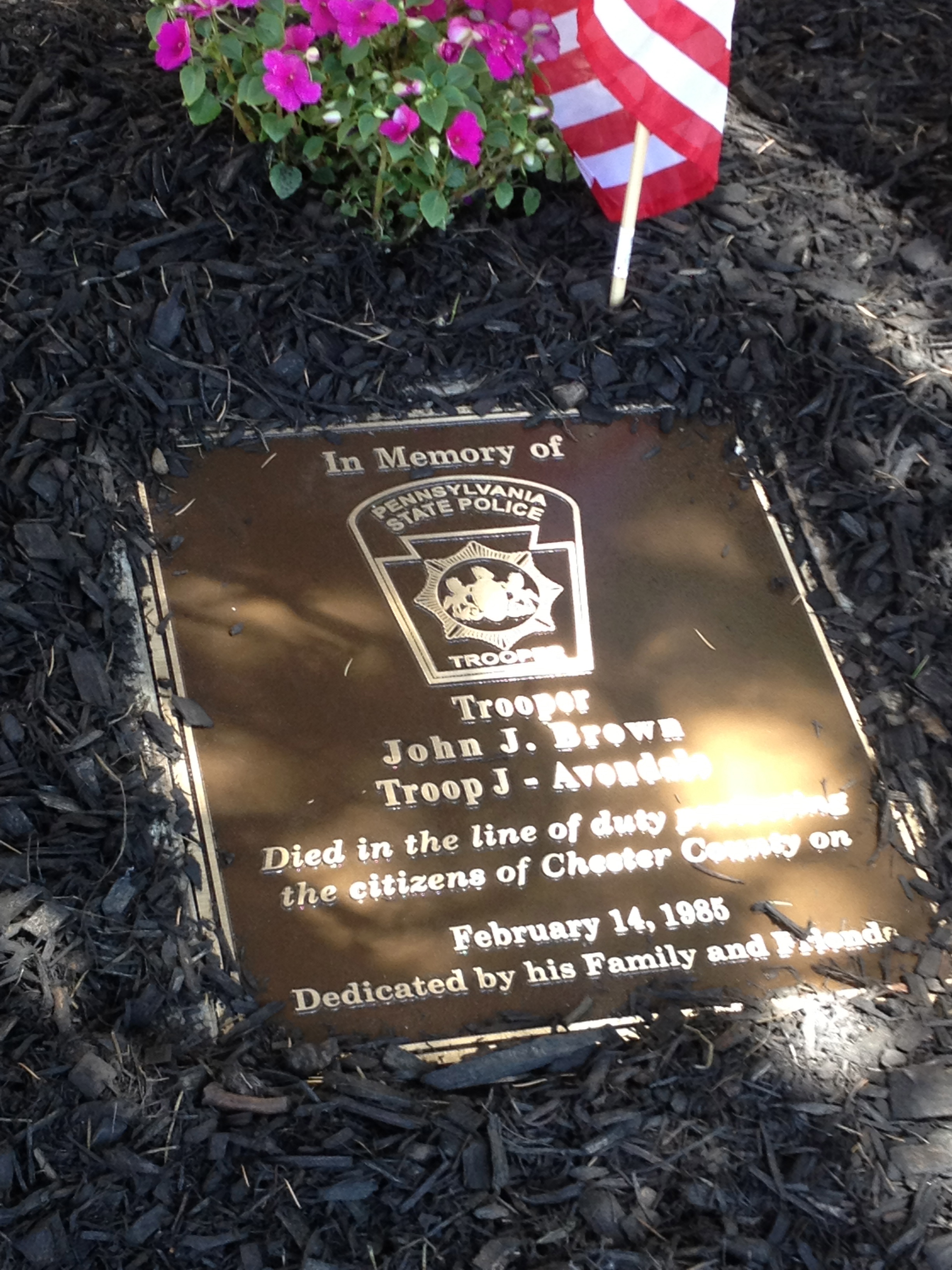 A bronze plaque commemorates the service of Pennsylvania State Trooper John J. Brown, who worked in the Avondale barracks.