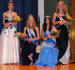 Fair Queen alternate Ilsa Mroz (from left), Fair Queen Jaclyn Jones, Fair Princess Monica Sylvanus, and Princess alternate Carly Rechenberg celebrate their selection.