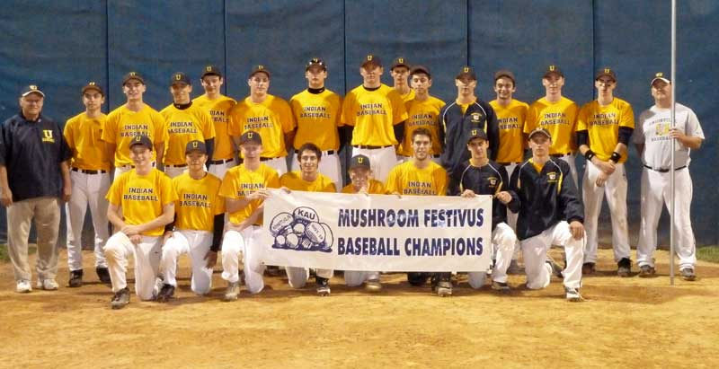 The KAU-Unionville baseball team that won the 5th annual Mushroom Festivus: pictured left to right (front row): Tyler Hoffman-Reardon, Chris Lau, Andrew Nichols, Jon Karas, Nick Ward, Kyle Langerhans, Eric Takoushian, Eric Duerr; (back row) Coach Greg Kanaskie, Dan Garver, Drew Jarmuz, Tucker Reese, Kevin Looby, Kyle Fries, Brad Grow, Matt Foster, Nick Godek, Ari Bleemer, Kevin Tallman, Joe Garver, Pat MacNally, Andrew Taylor, and Manager Mike Magee.