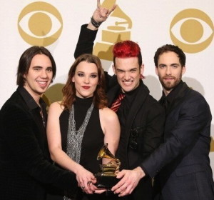 "Joe Hottinger (left), a 2000 Unionville grad and member of the group Halestorm, accepts  a Grammy award for the song ""Long Bites (So Do I)."