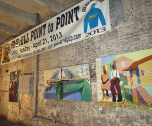 Paintings by Coatesville artist Dane Tilghman and steeplechase banners helped transform an aging city warehouse into an industrial chic venue for the Delaware Valley Point-to-Point Association's annual awards party.