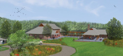 An artist' rendering shows the layout of the Lenfest Center at the ChesLen Preserve in Newlin Township.
