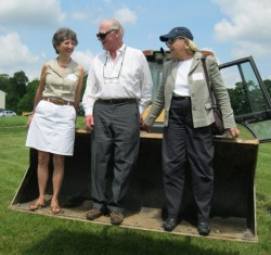 In May 2012, Molly Morrison, president of Natural Lands Trust, joined Gerry and Marguerite Lenfest for a bird's-eye view of the Lenfest Center groundbreaking.