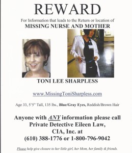The parents of Toni Lee Sharpless, who disappeared four years ago, hope that circulating her photos may prompt someone with information to come forward.