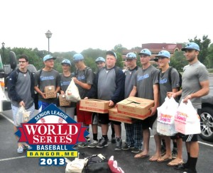 Members of the KAU Kings get ready to board a bus for a 10-hour ride to Bangor, Maine to play in the Senior Little League World Series. Snacks were donated by Herrs, Wawa and Dunkin Donuts to keep the under-16 team filled while en route.