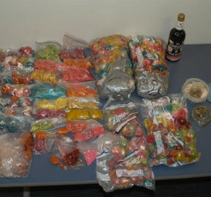 A photo shows some of the drug-laced candy police found at a West Chester University apartment.