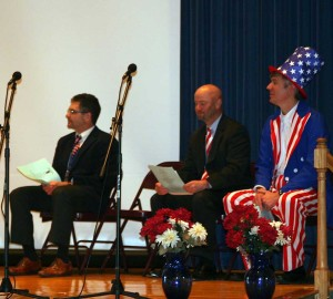UCFSD staff join students in paying tribute to those who serve our country. Pictured from left to right:  Clif Beaver, Unionville Elementary School Principal; Dr. John Sanville, Superintendent; Ken Batchelor, Assistant to the Superintendent.