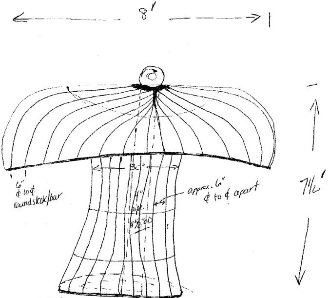 A sketch shows the mushroom that is being fabricated for Kennett Square's New Year's Eve celebration.