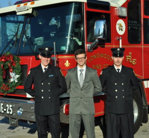 Bas de Vries (from left), Corey Denton and Chuck Simmers are new members of the Longwood Fire Company.