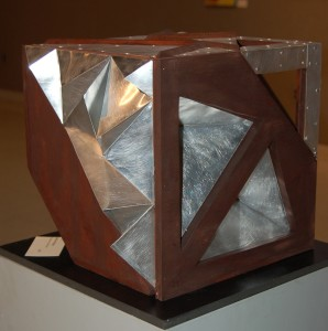 """MAX,"" a sculpture created with wood and aluminum by Steffie Mongar, is one of the architecture-inspired works on display this month at the Chester County Art Association."