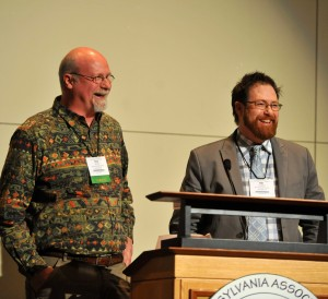 Victory Brewing Co. co-founders Ron Barchet (left) and Bill Covaleski accept the 2014 Sustainable Agriculture Business Leadership Award from the Pennsylvania Association for Sustainable Agriculture (PASA) earlier this month.