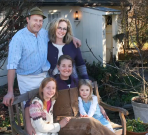 Tom and Barbara Schaer pose with their two daughters (front row) and only employee at Meadowset Farm in Landenberg.
