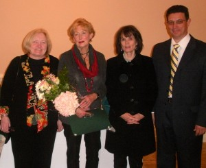 Honoree Peggy Gusz (second from left), executive director of the Crime Victims Center of Chester County, is joined by staffers Mary Donahue (from left) and Beth Watson, and Jose Reyes, the agency's board president.