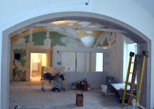 This iron reenforced arch — an original architectural detail from the Chester County Courthouse will now be visable, along with the original vaulted ceilings, as part of a $1.46 million renovation and restoration of the building so it can house a district court.