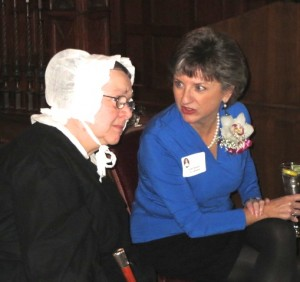 Molly K. Morrison chats with Susannah Brody, playing the role of Rebecca Lukens, at the Eighth Annual Rebecca Lukens Award ceremony in Coatesville.