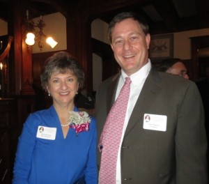 Molly K. Morrison, recipient of the Eighth Annual Rebecca Lukens Award, is shown with Scott G. Huston, a direct descendant of the trail-blazing industrialist.