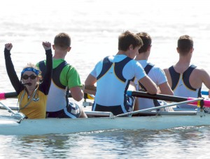 Unionville High School Coxswain Olivia Robb celebrates Varsity Men's 4+ Victory with teammates Colin Wardius, Garren Best, Just Best and John Sagretti.