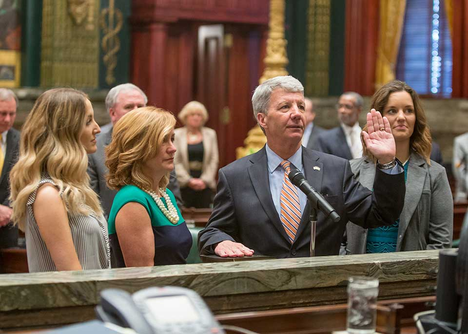 New state Sen. Tom Killion (R-9) takes the oath of office, Wednesday, in the state Senate Chambers in Harrisburg. Killion won a special election April 26 to replace retiring state Sen. Dominic Pileggi.