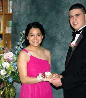 D.J. Proctor, a CCDC student, and his guest, Melanie Serrano of Coatesville, pose for their official prom photograph.