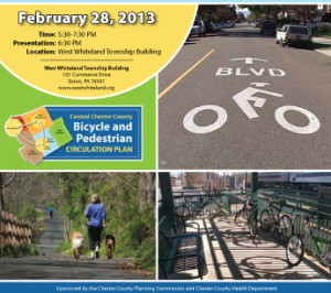 The meeting offers the public the last opportunity to provide feedback before the Chester County Bicycle and Pedestrian Circulation Plan is finalized in March.