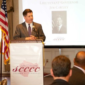 Lt. Governor Jim Cawley spoke at length about the reforms brought by Gov. Tom Corbett in terms of spending and touted infrastructure investments.