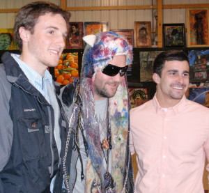 Bam Margera (center) poses with two fans from West Chester University: Brian Whitehead (left) and Mike Dattalo