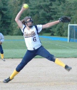 Sophomore Austin Langerhans, seen pitching Monday against Great Valley, is just one of many reasons to be optimistic about the future of the Unionville High School softball team, which managed a .500 record in 2013, despite being one of the youngest teams in the county.