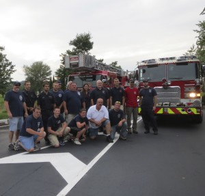 First-responders from the Kennett, Longwood, Avondale and Po-Mar-Lin Fire Companies gather to provide an escort for the KAU Kings.