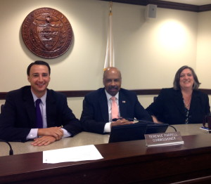 Chester County Commissioners Ryan Costello (from left), Terence Farrell, and Kathi Cozzone announced Thursday that the county has retained its Triple A bond ratings.