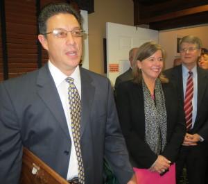 CVC Board President Jose Reyes (from left) explains the background of the John J. Crane Award as Elizabeth B. Pitts and Joseph W. Carroll listen.