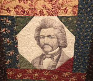 Frederick Douglass, whose image was transferred to fabric, was one of the speakers at the former Longwood Progressive Meeting.