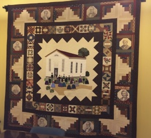 The centerpiece of a new quilt for the Chester County Conference and Visitors Bureau was inspired by a historic photograph of what was once the Longwood Progressive Meeting, a hub for abolitionists.