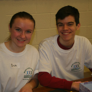 Unionville High School Seniors Patrick Bova and Erin Kutz lend a helping hand at the MLK service initiative at Chadds Ford Elementary School. They were just one of many high school students donating their time on their day off from their studies.