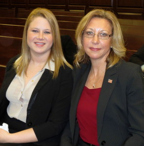 Following the swearing-in ceremony, Clerk of Courts Robin Marcello (right) poses with her daughter, Lindsey McCabe.