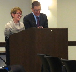 County employees Rebecca Brain and Frank Cipriano debut the county's new mobile app at the commissioners' meeting on Tuesday, March 18.