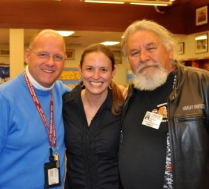 Victoria Wyeth is flanked by Chadds Ford Elementary Principal Mark Ransford (left) and Andy Bell, a friend and model for her grandfather, Andrew Wyeth.