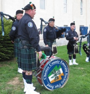 The Chester County Emerald Society Drum and Pipe Band performed at the memorial ceremony.