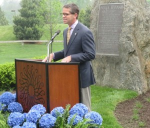 Paul B. Redman, director of Longwood Gardens, explains what led to the relocation and rededication of the Indian Hannah monument.