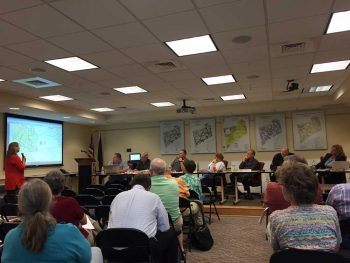 Kennett Township's Board of Supervisors discuss a potential zoning change during Wednesday night's meeting.