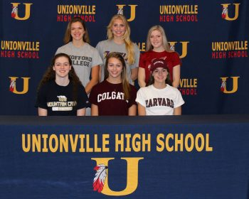 Maddie Shanahan (Basketball - University of Pittsburgh at Johnstown), Allie Lowe (Volleyball - Colgate) and Anna Juul (Running - Harvard). Standing from left to right: Lauren Adams (Lacrosse - Wofford), Elle White (Soccer - West Chester) and Mackenzie Myers (Lacrosse - Erskine College).