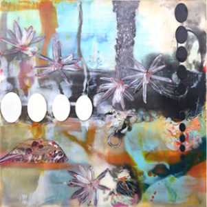 "An encaustic painting by Lorraine Glessner as seen at the Art Trust ""Gifted show."""