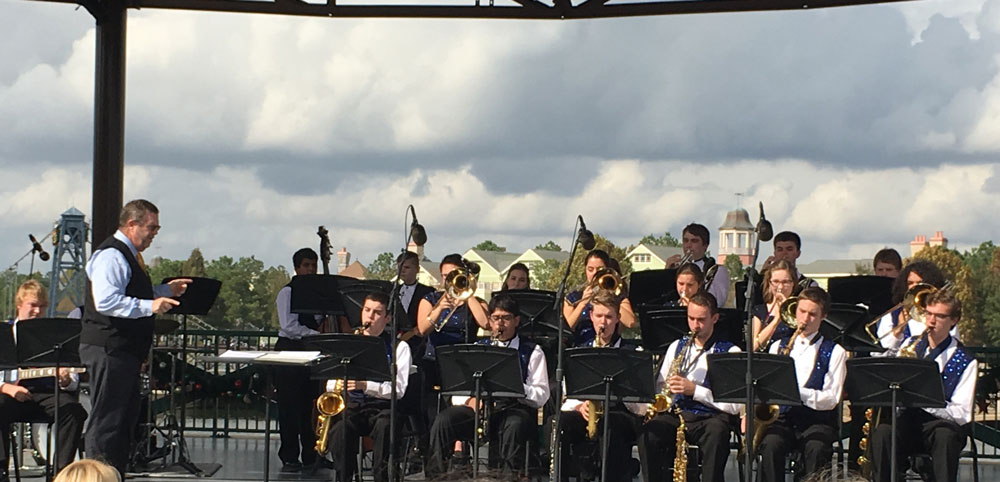 The Unionville High School Jazz band performs at Disney Springs, Thursday.